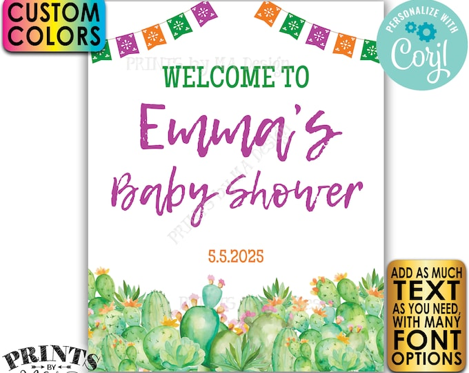 """Cactus Baby Shower Welcome Sign, Southwest Succulents, Mexican Flags, One Custom PRINTABLE 8x10/16x20"""" Sign <Edit Yourself with Corjl>"""