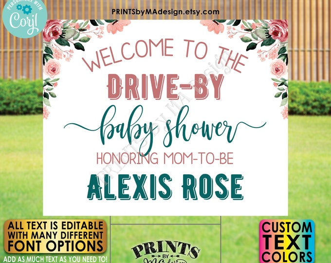 """Editable Drive-By Event Sign, Baby Shower Welcome Sign, Custom Rose Gold Blush Floral PRINTABLE 16x20"""" Template <Edit Yourself w/Corjl>"""