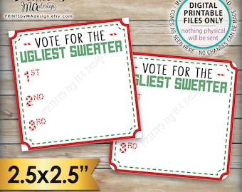 """Ugly Christmas Sweater Voting Ballots, Vote for the Ugliest Sweater Party Vote, Tacky Sweater Voting Station, PRINTABLE 2.5"""" Ballots <ID>"""