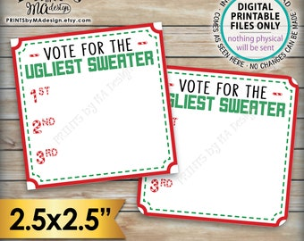 """Ugly Christmas Sweater Voting Ballots, Vote for the Ugliest Sweater, Tacky Xmas Party Voting Station, PRINTABLE Sheet of 2.5"""" Ballots <ID>"""