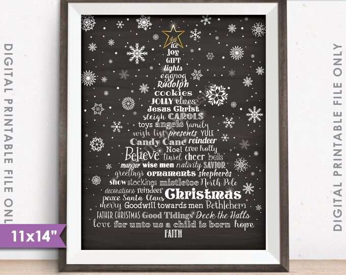 "Christmas Words Tree Holiday Words Christmas Tree, X-mas Tree Christmas Sign, 11x14"" Chalkboard Style Instant Download Digital Printable"