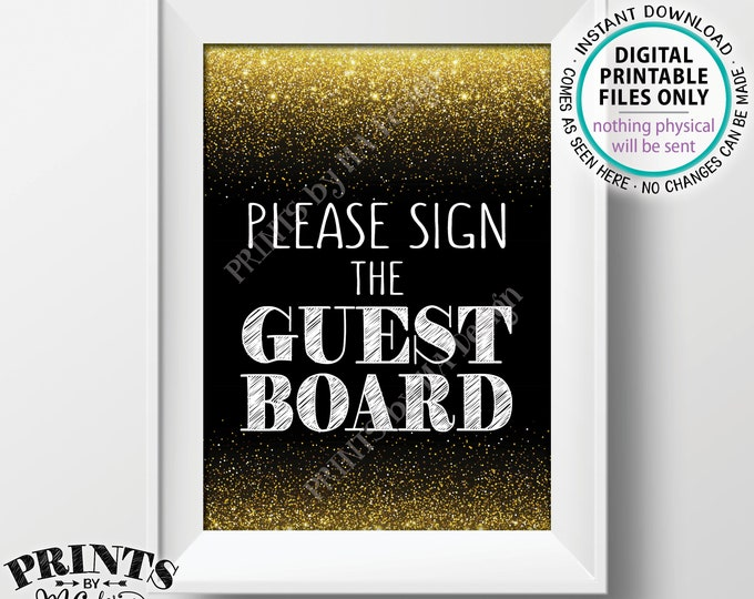 """Please Sign the Guest Board Sign, Guestbook, Birthday Anniversary Retirement Graduation Party, Black & Gold Glitter PRINTABLE 5x7"""" Sign <ID>"""