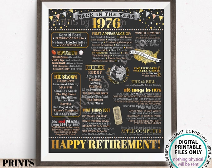 """Back in the Year 1976 Retirement Party Poster Board, Flashback to 1976 Sign, PRINTABLE 16x20"""" Retirement Party Decoration <ID>"""
