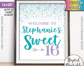 """Sweet 16 Sign, Sweet Sixteen Welcome Sign, Sixteenth Birthday Custom Color Confetti 16th Birthday Welcome Poster, 8x10/16x20"""" Printable Sign"""