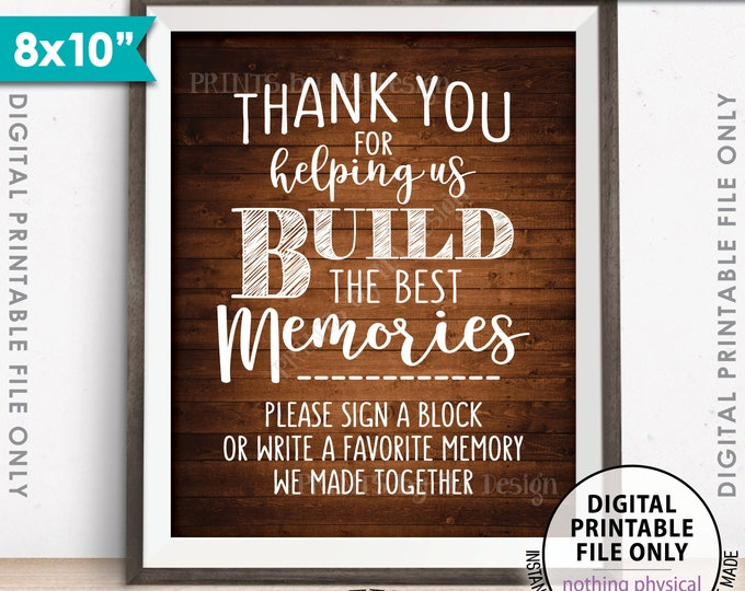 """Sign a Block Sign, Thank You for Helping Us Build Memories Wedding Sign, Write a Memory Sign, PRINTABLE 8x10"""" Rustic Wood Style Sign <ID>"""