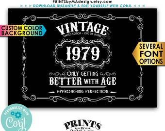 """Vintage Birthday Sign, Better with Age Liquor Themed Party, Custom Color Background, PRINTABLE 24x36"""" Sign <Edit Yourself with Corjl>"""
