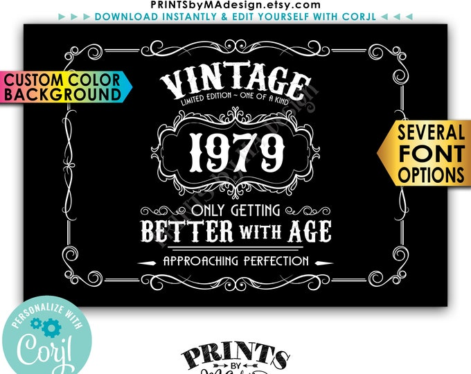 "Vintage Birthday Sign, Better with Age Liquor Themed Party, Custom Color Background, PRINTABLE 24x36"" Sign <Edit Yourself with Corjl>"