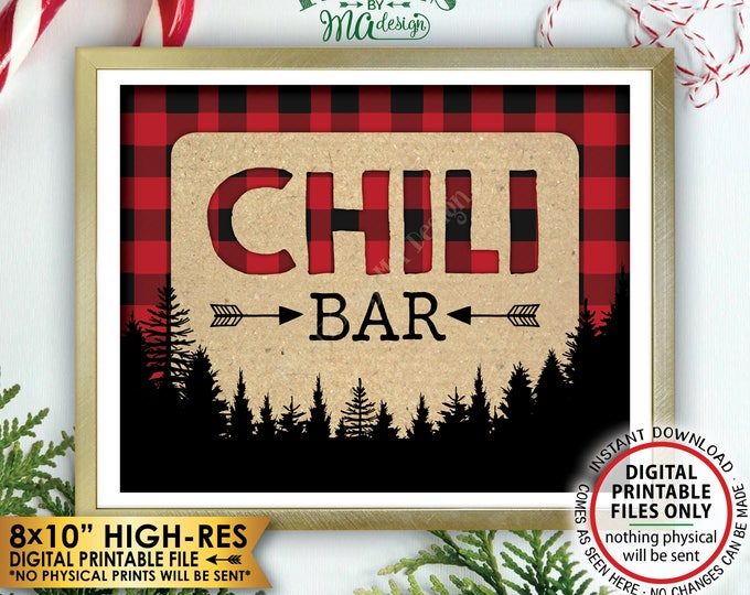 "Lumberjack Chili Bar Sign, Chili Station, Red & Black Checker PRINTABLE 8x10"" Chili Sign, Buffalo Plaid Christmas Trees Decorations <ID>"