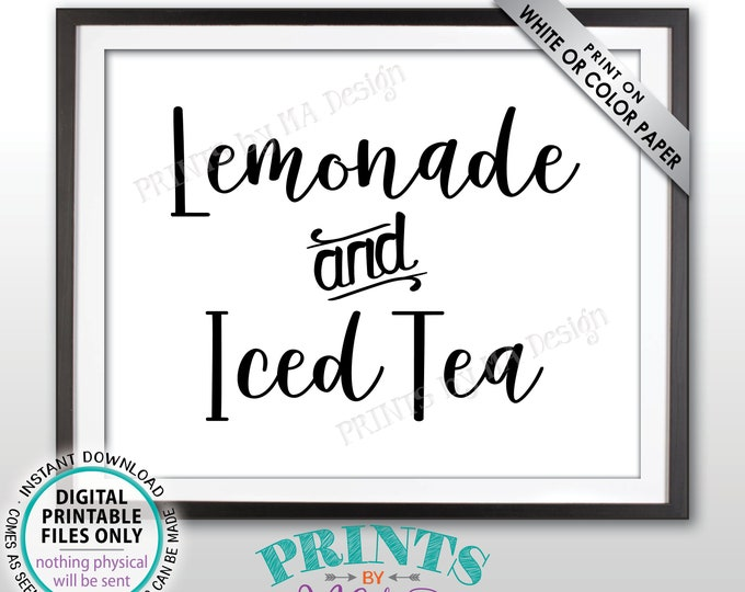 """Lemonade & Iced Tea Sign, Ice Tea and Lemonade, Non-Alcoholic Drinks Sign, Summer Party Beverage Station, PRINTABLE 8x10"""" Drink Sign <ID>"""