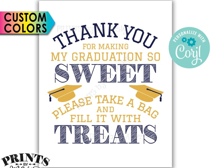 "Thank You for Making my Graduation so Sweet Please take a Bag and Fill it with Treats, PRINTABLE 8x10"" Sign <Edit Yourself with Corjl>"