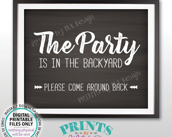 "Party is in the Backyard Please Come Around Back, Come to the Backyard Party Around Back, PRINTABLE 8x10/16x20"" Chalkboard Style Sign <ID>"