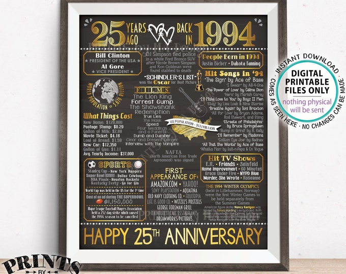 "25th Anniversary Married in 1994 Flashback to 1994 Poster, USA Back in 1994 Sign, Gold, PRINTABLE 16x20"" 1994 Sign <ID>"
