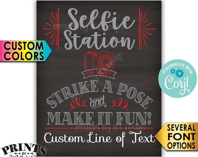"Selfie Station Sign, Srike a Pose & Make it Fun, Custom PRINTABLE 8x10/16x20"" Chalkboard Style Sign <Edit Yourself with Corjl>"