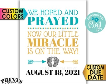 "Pregnancy Announcement, We Hoped and Prayed, Our Little Miracle is on the Way, PRINTABLE 8x10/16x20"" Reveal Sign <Edit Yourself with Corjl>"