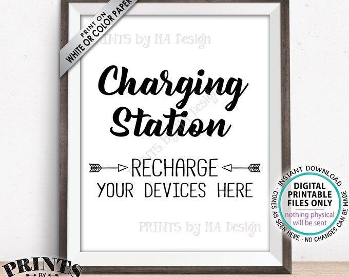 "Charging Station Sign, Recharge Your Devices Here, Charge Your Phone Charger, Recharge Here, Wedding Charge Bar, PRINTABLE 8x10"" Sign <ID>"