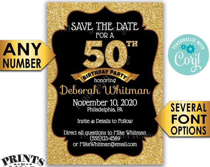 "Black & Gold Glitter Birthday Party Save the Date, Golden Standard Bday Invite, PRINTABLE 5x7"" Digital File <Edit Yourself with Corjl>"