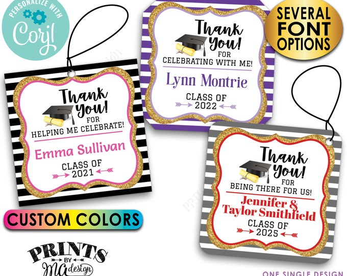 "Graduation Thank You Tags, Grad Party Favors, Gold Glitter, Digital PRINTABLE 8.5x11"" File of 2.5"" Square Cards <Edit Yourself with Corjl>"