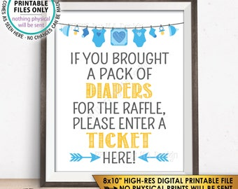 """Diaper Raffle Ticket Sign, Enter a Raffle Ticket Here Blue Baby Shower Raffle Ticket Sign, PRINTABLE 8x10"""" Instant Download Baby Shower Sign"""