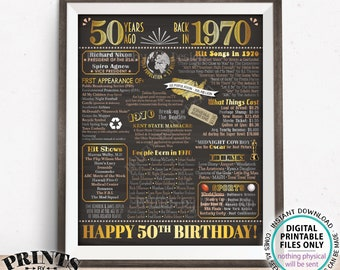 "50th Birthday Poster, Flashback 50 Years Ago Back in 1970 Poster Board, PRINTABLE 16x20"" Born in 1970 Sign <ID>"