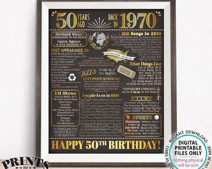 """50th Birthday Poster, Flashback 50 Years Ago Back in 1970 Poster Board, PRINTABLE 16x20"""" Born in 1970 Sign <ID>"""