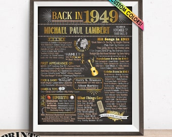 "Back in 1949 Birthday Sign, Flashback to 1949 Poster Board, 1949 Birthday Gift, Custom PRINTABLE 16x20"" B-day Decoration"