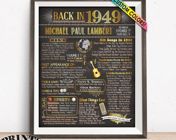 "Back in 1949 Birthday Sign, Flashback to 1949 Poster Board, 1949 Birthday Gift, Custom PRINTABLE 16x20"" B-day Decoration"