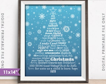 christmas words tree holiday words christmas tree x mas tree christmas sign blue snowflake 11x14 instant download digital printable