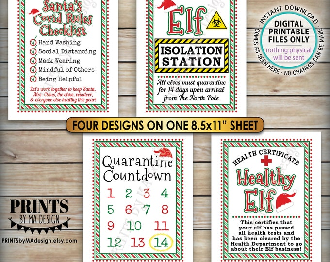 "Elf Quarantine Signs, Keep Santa Healthy during Covid, Christmas Elf Quarantine 14 Days Isolation, One PRINTABLE 8.5x11"" Digital File <ID>"