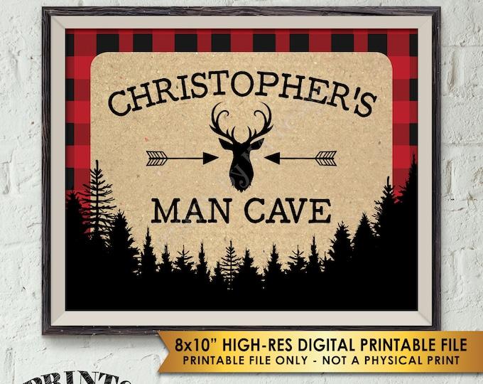 "Lumberjack Sign, Lumberjack Man Cave Sign, Bear Cave, Buffalo Plaid, Deer Pine Trees, Custom Name Red and Black Checker PRINTABLE 8x10"" Sign"