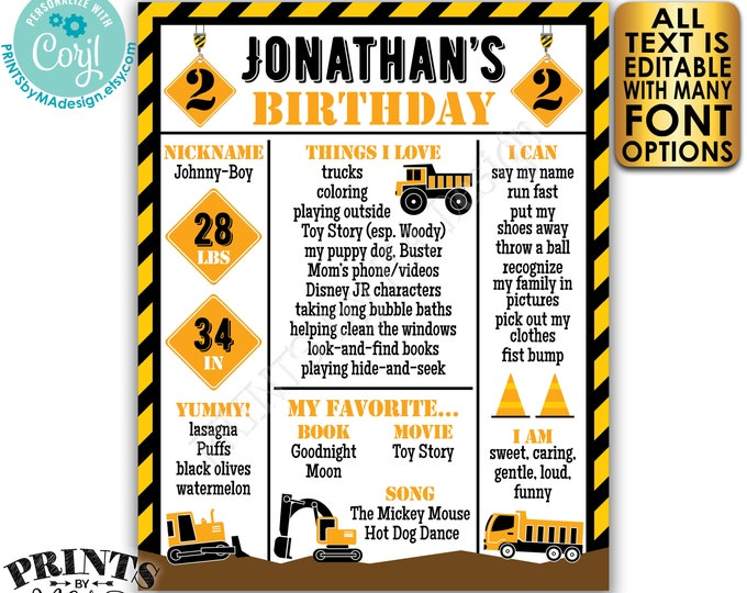 "Editable Truck Birthday Poster, Yellow Tractor Milestones Sign, Personalized PRINTABLE 8x10/16x20"" B-day Sign <Edit Yourself w/Corjl>"