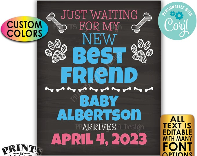 """Dog Pregnancy Announcement, Just Waiting for my New Best Friend, Custom PRINTABLE 16x20"""" Chalkboard Style Sign <Edit Yourself with Corjl>"""