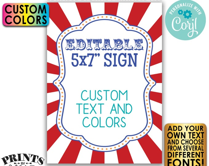 """Editable Carnival Sign, Circus Birthday Party, One Custom PRINTABLE 5x7"""" Portrait Carnival Theme Sign <Edit Yourself with Corjl>"""