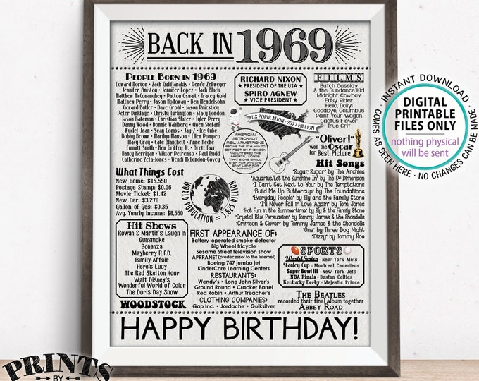"Back in 1969 Sign, 50th Birthday Born in 1969 Poster Board, Flashback 50 Years Ago B-day Gift, PRINTABLE 16x20"" Black/Gray B-day Sign <ID>"