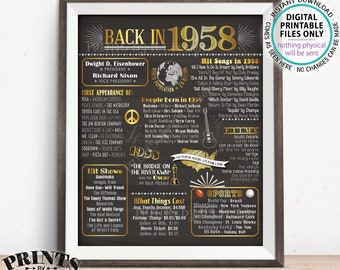 "1958 Flashback Poster, Flashback to 1958 USA History Back in 1958 Birthday Anniversary Reunion, PRINTABLE 16x20"" Sign <ID>"