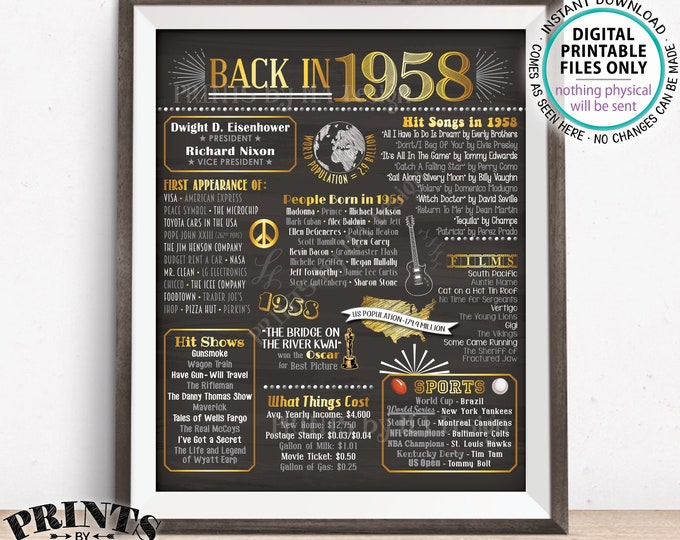 "1958 Flashback Poster, Flashback to 1958 USA History Back in 1958 Birthday Anniversary Reunion, PRINTABLE 16x20"" Sign <ID>"
