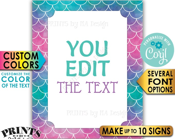 "Custom Mermaid Signd, Choose Your Text Mermaid Party, Up to 10 PRINTABLE 8x10/16x20"" Portrait Mermaid Signd <Edit Yourself with Corjl>"