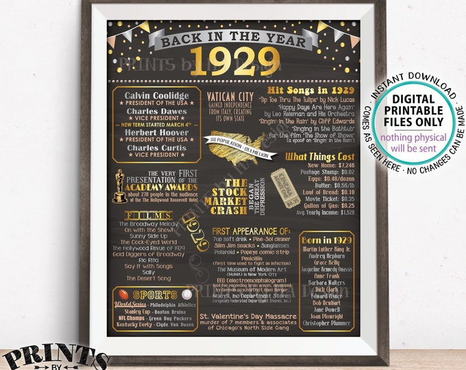"Back in 1929 Flashback Poster Board, USA History Remember 1929 Flashback Poster, PRINTABLE 16x20"" Back in 29 Sign <ID>"