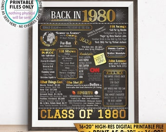 "Class of 1980 Reunion 38 Year Reunion Back in 1980 Flashback to 1980 38 Years Ago, Gold, PRINTABLE 8x10/16x20"" Chalkboard Style Sign <ID>"