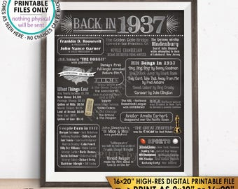 "1937 Flashback Poster, Flashback to 1937 USA History Back in 1937 Birthday Party, Silver & Gray, PRINTABLE 16x20"" Sign <ID>"