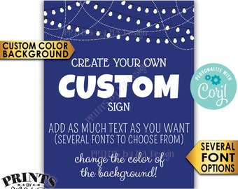 """Custom Poster with Lights, Custom Background Color, Choose Your Text, One PRINTABLE 8x10/16x20"""" Portrait Sign <Edit Yourself with Corjl>"""