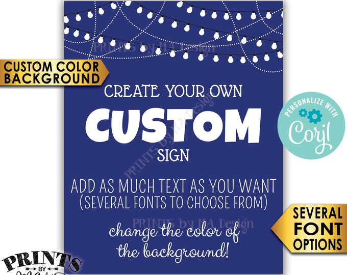 "Custom Poster with Lights, Custom Background Color, Choose Your Text, One PRINTABLE 8x10/16x20"" Portrait Sign <Edit Yourself with Corjl>"