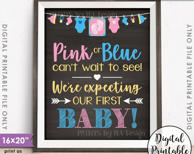 """Pink or Blue Cant Wait to See We're Expecting Our First Baby Pregnancy Announcement, 8x10/16x20"""" Chalkboard Style Printable Instant Download"""