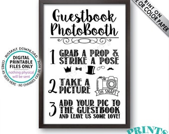 """Guestbook Photobooth Sign, Add a Photo to the Guest Book Sign, Leave Some Love, Photo Booth Wedding Sign, PRINTABLE 24x36"""" Photo Sign <ID>"""