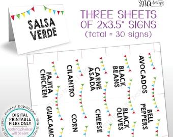 "Taco Bar Labels, Taco Bar Menu Fiesta Mini Menu Taco Labels, Taco Bar Sign, PRINTABLE 8.5x11"" Sheet of Thirty 2""x3.5"" Mini Menu Labels <ID>"