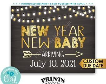 """New Years Pregnancy Announcement, New Year New Baby, Chalkboard Style PRINTABLE 8x10/16x20"""" Baby Reveal Sign <Edit Yourself with Corjl>"""