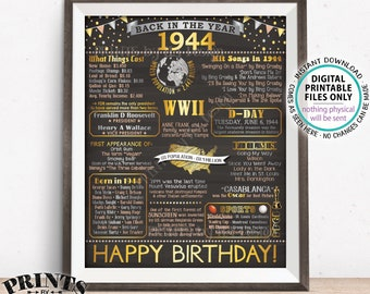 """1944 Birthday Poster Board, Back in 1944 Birthday Decoration, Flashback to 1944 B-day Gift, PRINTABLE 16x20"""" Sign <ID>"""