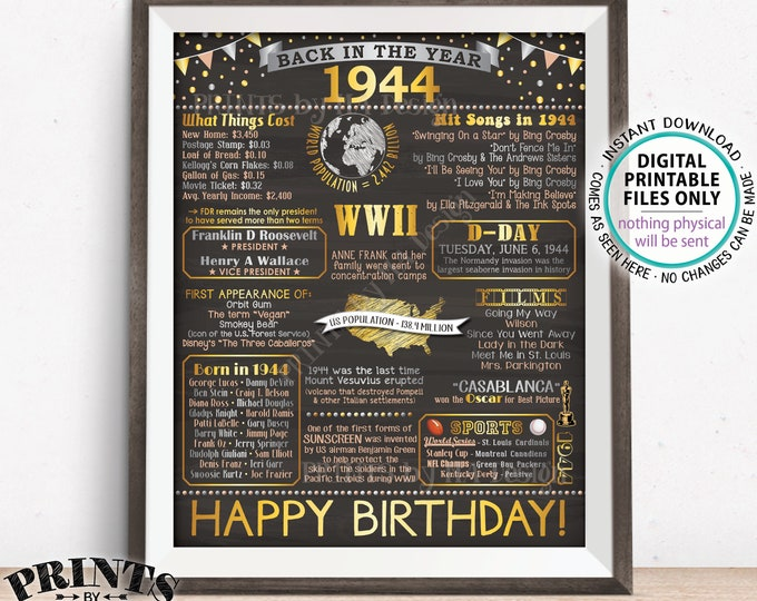 "1944 Birthday Poster Board, Back in 1944 Birthday Decoration, Flashback to 1944 B-day Gift, PRINTABLE 16x20"" Sign <ID>"