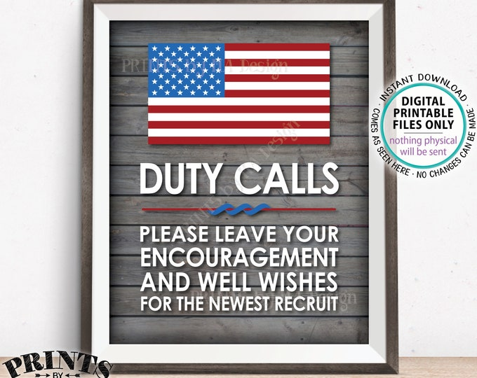 "Military Sign, Leave your Encouragement and Well Wishes, Armed Forces Party Decor, Boot Camp, PRINTABLE 11x14"" Rustic Wood Style Sign <ID>"