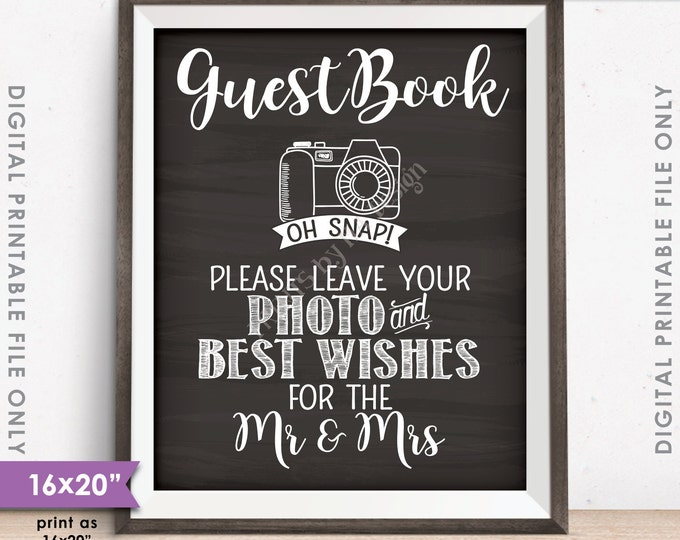 """Guestbook Photo Sign, Leave Photo and Best Wishes for the Mr & Mrs, Chalkboard Style PRINTABLE 8x10/16x20"""" Instant Download Wedding Sign"""