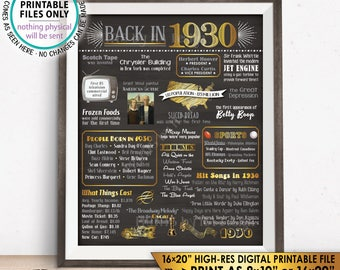 "1930 Flashback Poster, 1930 Birthday Flashback to 1930 USA History Back in 1930, Born in 1930, PRINTABLE 16x20"" Sign <ID>"